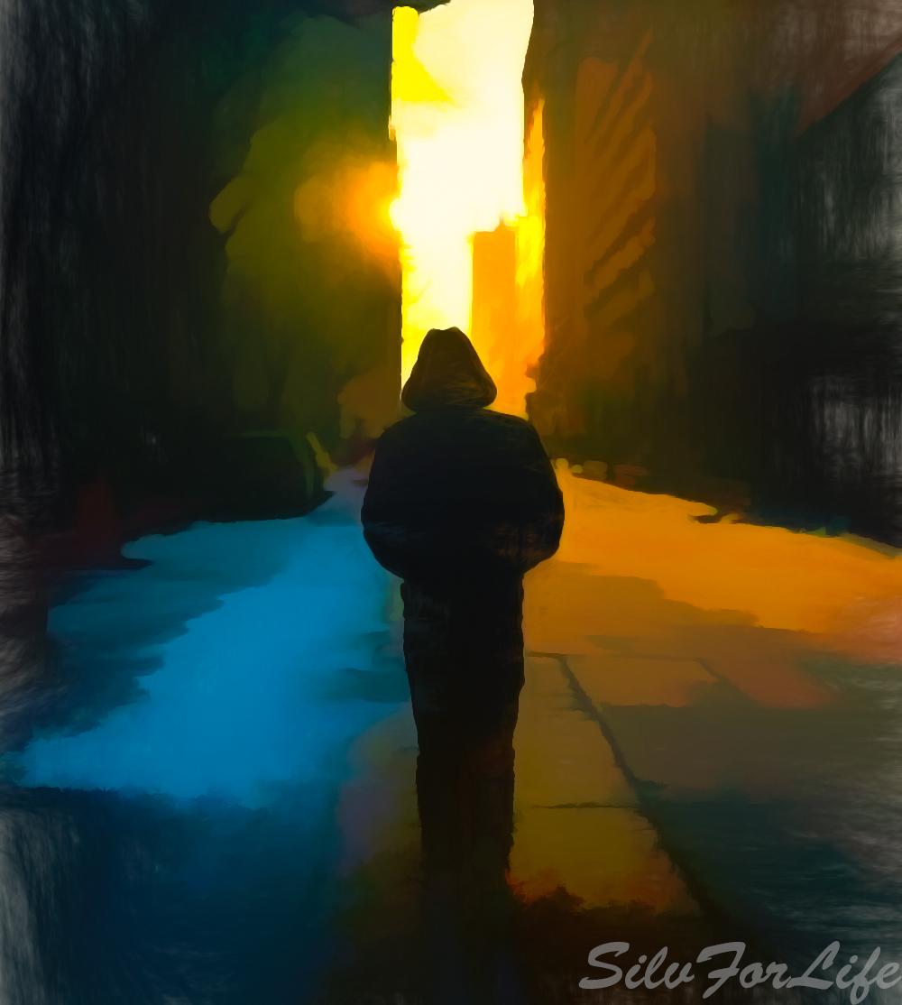 Men walking on empty street