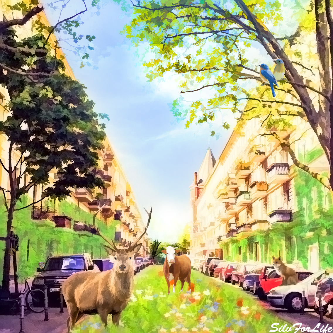 Surreal Nature in City - Photomanipulation Painting