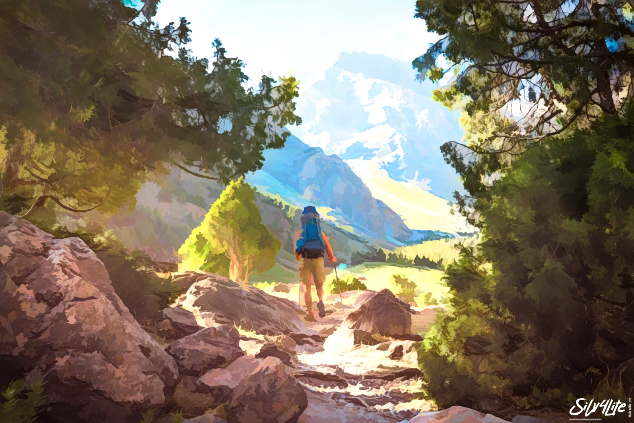 The man in mountains – Paint