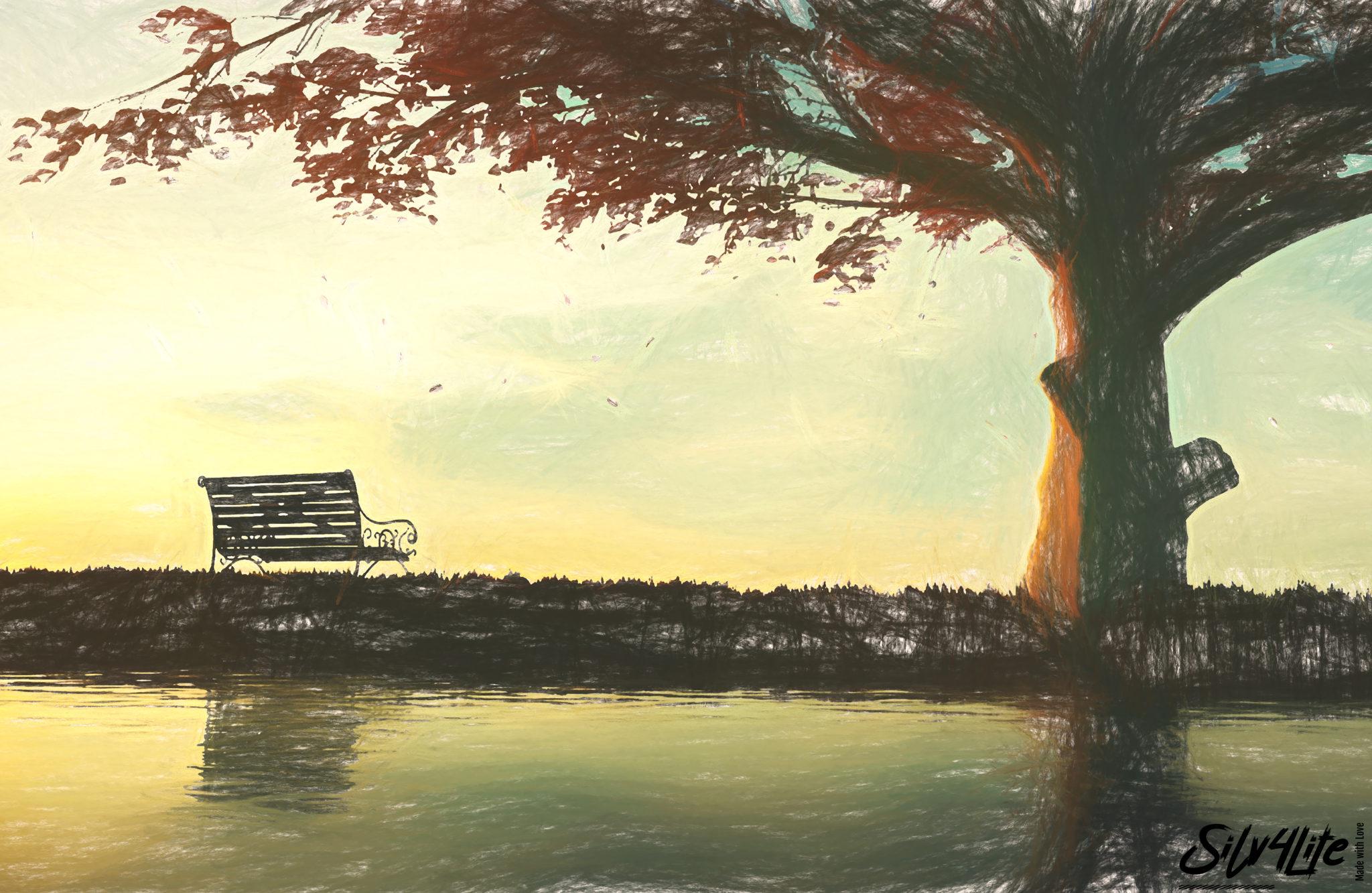 Baum am See im Herbst - paint